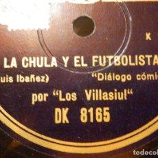 Discos de pizarra: DISCO PIZARRA -LOS VILLASIUL LA CHULA Y EL FUTBOLISTA, JUEGOS FLORALES EN VILLACANDONGA -. Lote 116844663