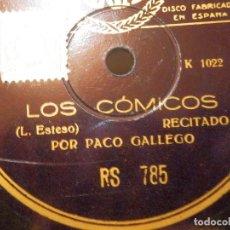 Discos de pizarra: DISCO PIZARRA - PACO GALLEGUITO - LOS CÓMICOS - EL PESCADOR DE CAÑA - RECITADO CÓMICO. Lote 116847051
