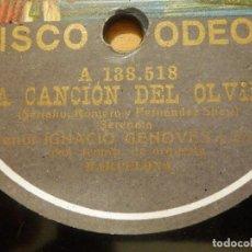 Discos de pizarra: DISCO DE PIZARRA GRAMÓFONO - TENOR IGNACIO GENOVÉS - LA CANCIÓN DEL OLVIDO - ORQ. BARCELONA. Lote 116984143