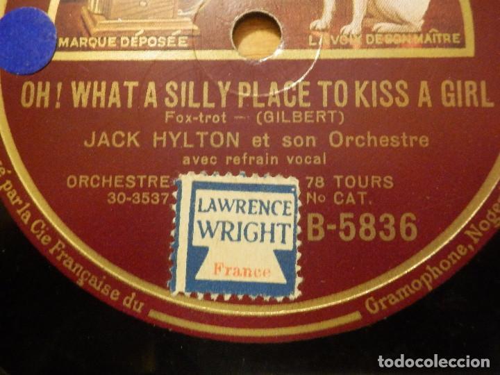 DISCO DE PIZARRA GRAMÓFONO - JACK HILTON - AMY - OH, WHAT A SILLY PLACE TO KISS A GIRL - FOX-TROT (Música - Discos - Pizarra - Solistas Melódicos y Bailables)