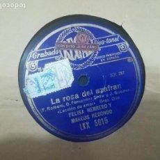 Discos de pizarra: LA ROSA DEL AZAFRÁN LA CANCIÓN DE SEMBRADOR Y LECCIÓN DE AMOR. Lote 117559131