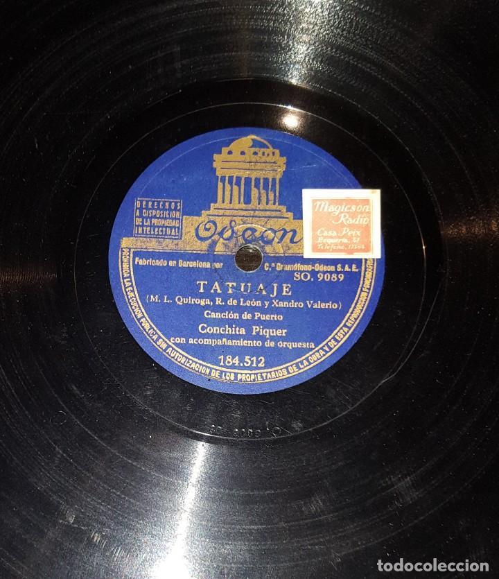 Discos de pizarra: DISCOS 78 RPM - CONCHITA PIQUER - ORQUESTA - LA LIRIO - CANCIÓN DE PUERTO - TATUAJE - PIZARRA - Foto 2 - 117618083