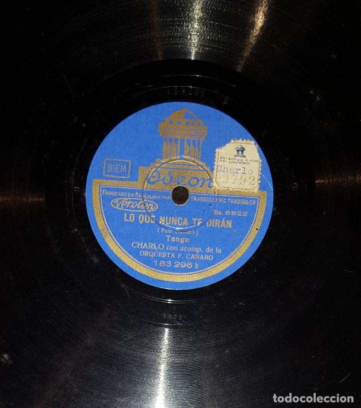Discos de pizarra: DISCOS 78 RPM - CHARLO - ORQUESTA F. CANARO - CANTO POR NO LLORAR - TANGO - PIZARRA - Foto 2 - 117621607