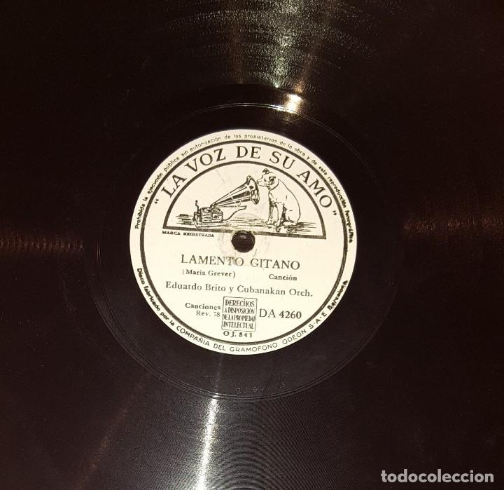DISCOS 78 RPM - EDUARDO BRITO - CUBANAKAN ORCH - LAMENTO GITANO - CANTO SIBONEY - PIZARRA (Música - Discos - Pizarra - Solistas Melódicos y Bailables)