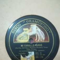 Discos de pizarra: DISCO DE PIZARRA TINO FOLGAR ACOMPAÑADO DE ORQUESTA MI CABALLO MURIÓ -- AL WAYS SEVILA YES. Lote 117901615