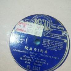 Discos de pizarra: DISCO DE PIZARRA MARINA YO TOOSCO Y RUDO TRABAJADOR Y YA SUS OJOS. Lote 117903123