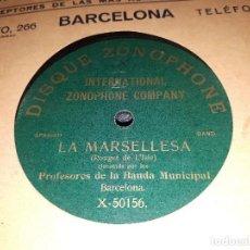 Discos de pizarra: REPUBLICA /LA MARSELLESA DISCO DE PIZARRA GRABADO EN ESPAÑA. Lote 118020043