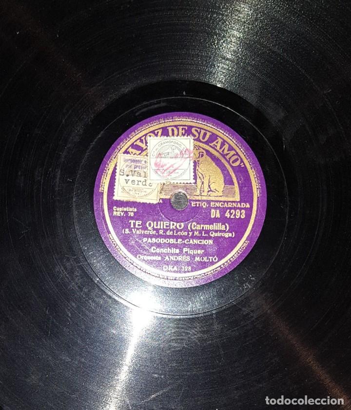 Discos de pizarra: DISCOS 78 RPM - CONCHITA PIQUER - ORQUESTA - CANASTEROS DE TRIANA - TE QUIERO - PIZARRA - Foto 2 - 119508239