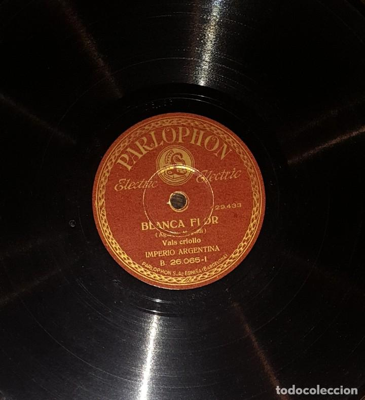 DISCOS 78 RPM - IMPERIO ARGENTINA - BLANCA FLOR - MI CABALLO MURIÓ - TANGO - PIZARRA (Música - Discos - Pizarra - Flamenco, Canción española y Cuplé)