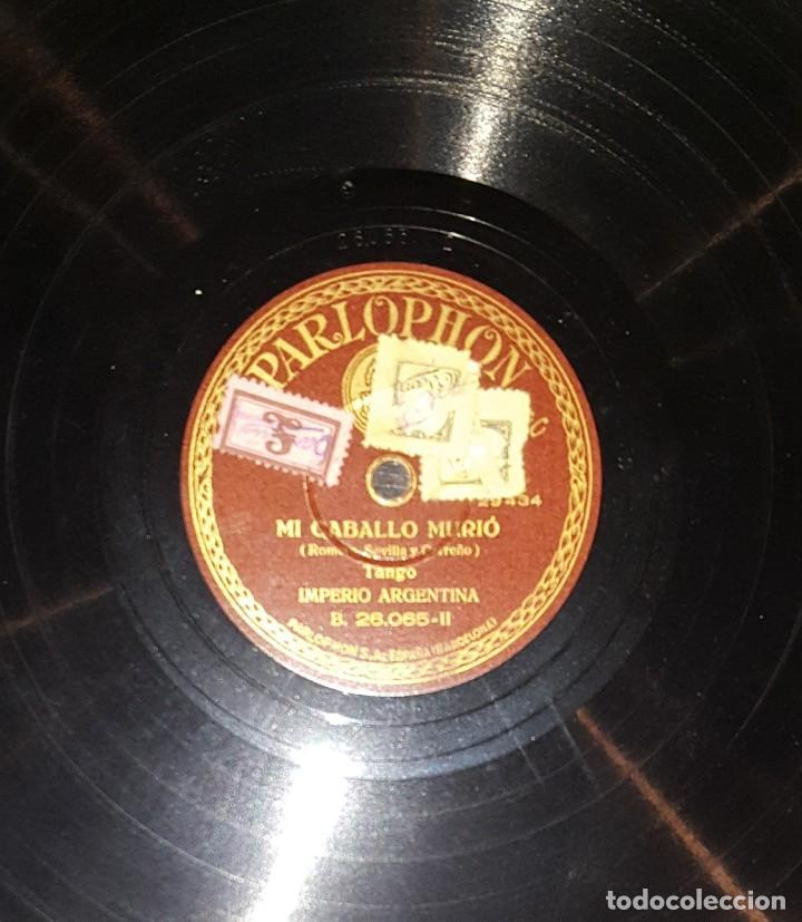 Discos de pizarra: DISCOS 78 RPM - IMPERIO ARGENTINA - BLANCA FLOR - MI CABALLO MURIÓ - TANGO - PIZARRA - Foto 2 - 119510915