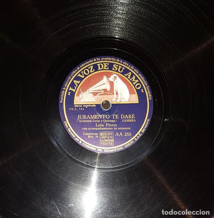 Discos de pizarra: DISCOS 78 RPM - LOLA FLORES - PACO AGUILERA - GUITARRA - TANGUILLO - ZAMBRA - PIZARRA - Foto 2 - 119520795