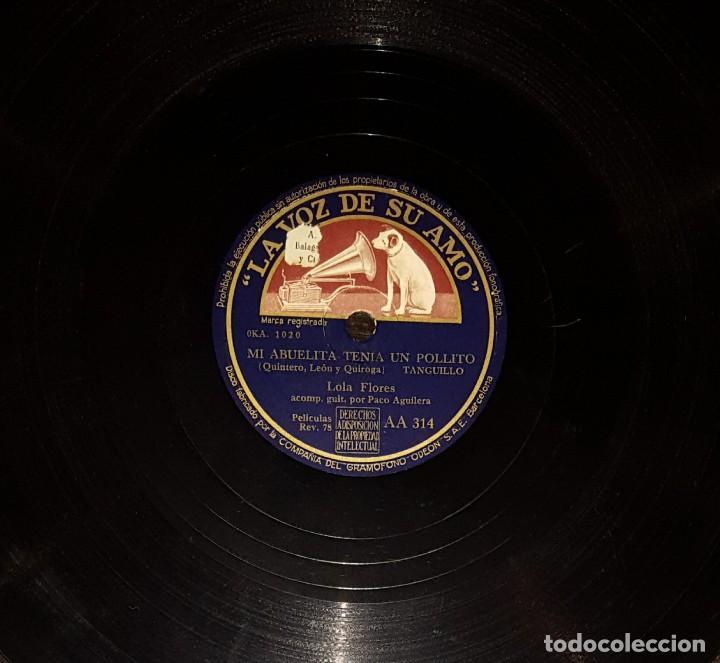 Discos de pizarra: DISCOS 78 RPM - LOLA FLORES - PACO AGUILERA - GUITARRA - BULERÍAS - TANGUILLO - PIZARRA - Foto 2 - 119521647