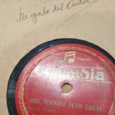Discos de pizarra: LP DISCO DE PIZARRA ORQUESTA COLUMBIA QUE MUNDO MÁS LOCO BUEN ESTADO . Lote 119926115