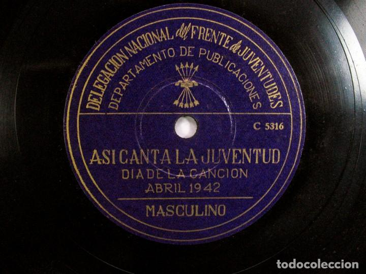 ASI CANTA LA JUVENTUD. DELEGACIÓN FRENTE DE JUVENTUDES FALANGE. DIA DE LA CANCION. ABRIL. 1942 (Música - Discos - Pizarra - Otros estilos)