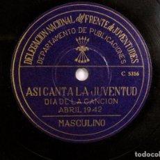 Discos de pizarra: ASI CANTA LA JUVENTUD. DELEGACIÓN FRENTE DE JUVENTUDES FALANGE. DIA DE LA CANCION. ABRIL. 1942. Lote 120547687
