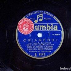 Discos de pizarra: ORIAMENDI. HIMNO TRADICIONALISTA. CARLISMO / HIMNO DE LOS PELAYOS. BANDA REQUETÉ DE NAVARRA. . Lote 120548987