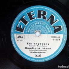 Discos de pizarra: ELS SEGADORS – BANDIERA ROSA / HERMANO MIRA LA BANDERA ROJA. GUERRA CIVIL. ETERNA. BERLIN. ALEMAN. Lote 120549739