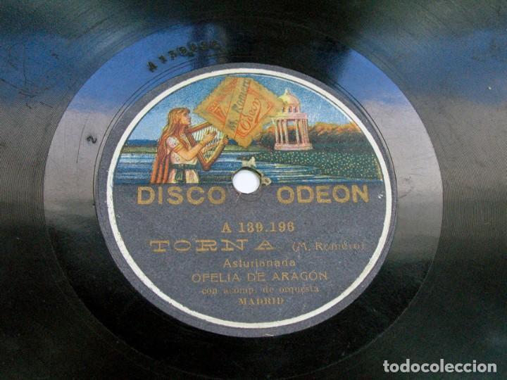 TORNA. ASTURIANADA / VALIENTE ARAGONÉS. OFELIA DE ARAGÓN. DISCO ODEON. ASTURIAS (Música - Discos - Pizarra - Flamenco, Canción española y Cuplé)
