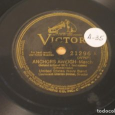 Disques en gomme-laque: UNITED STATES NAVY BAND - ANCHORS AWEIGH - MARCH / ALL HANDS - MARCH - VICTOR 21296 - EDICION USA. Lote 121550995
