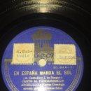 Discos de pizarra: ANGELILLO Y MARIA DOMINGO EN ESPAÑA MANDA EL SOL FANDANGUILLO Y NO TE AFLIJA VERTE PRESA. Lote 121570071