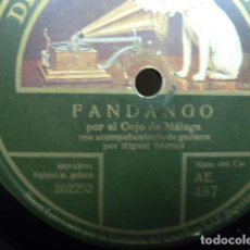 Discos de pizarra: EL COJO DE MÁLAGA -FANDANGO-FANDANGO DE JUAN BREDA- DISCO PIZARRA 78 R.P.M.. Lote 121679695
