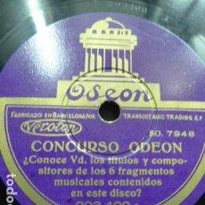 Discos de pizarra: CONCURSO ODEON -A LA MUJER ESPAÑOLA .PASODOBLE ORQUESTA ODEON CANTADO POR MARCOS REDONDO. Lote 121683523