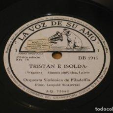 Discos de pizarra: WAGNER - TRISTAN E ISOLDA - ORQUESTA SINFONICA DE FILADELFIA, DIR. LEOPOLD STOKOWSKI. 4 DISCOS DE 12. Lote 122010367
