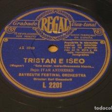 Discos de pizarra: WAGNER - TRISTAN E ISEO - BAYREUTH FESTIVAL ORCHESTRA. DIR. KARL ERMENDORFF - REGAL - 4XDISCOS DE 12. Lote 122014411