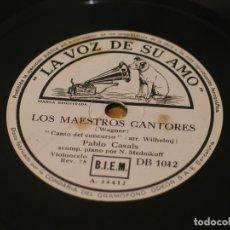 Discos de pizarra: WAGNER - LOS MAESTROS CANTORES / TANNHAEUSER - PABLO CASALS - LA VOZ DE SU AMO DB 1012. Lote 122016595