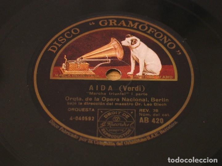 VERDI - AIDA: MARCHA TRIUNFAL I PARTE / MARCHA TRIUNFAL II PARTE - LA VOZ DE SU AMO AB 420 (Música - Discos - Pizarra - Clásica, Ópera, Zarzuela y Marchas)