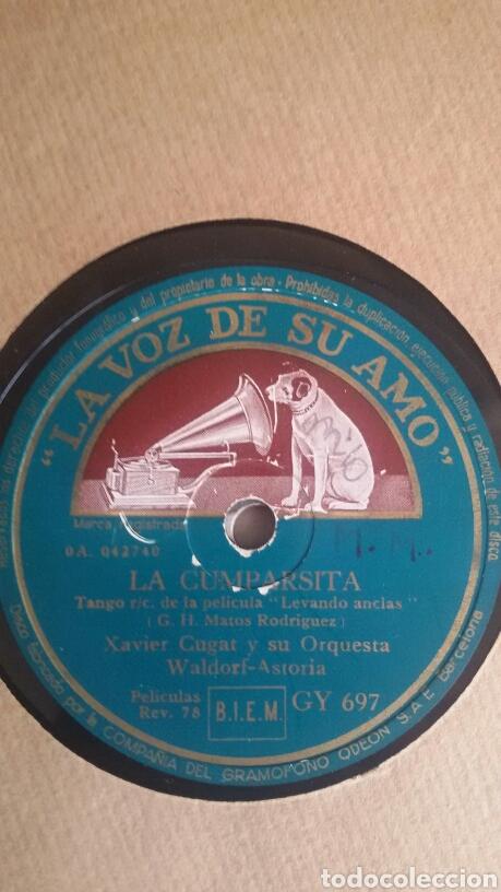 Discos de pizarra: LA CUMPARSITA - XAVIER CUGAT Y SU ORQUESTA Waldorf Astoria. Pizarra. La voz de su amo. GY 697 - Foto 4 - 122086963