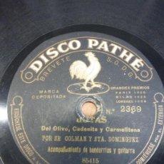 Discos de pizarra: SR. COLMAN Y STA. DOMÍNGUEZ DEL OLIVO, CADENITA Y CARMELITANA JOTAS DE RONDA - DISCO PATHÉ PIZARRA. Lote 122130563