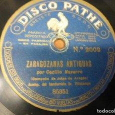 Discos de pizarra: CECILIO NAVARRO. JOTA ARAGONESA - JOTAS MODERNAS / ZARAGOZANAS ANTIGUAS - PIZARRA - DISCO PATHÈ. Lote 122225907