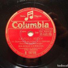 Discos de pizarra: MANOLO CARACOL - LA ROSA NUEVA (C6066) / LA NIÑA DE FUEGO (C6170) - COLUMBIA R14184. Lote 122280507