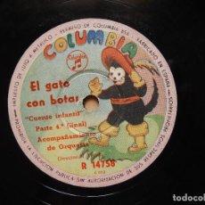 Discos de pizarra: ACOMPAÑAMIENTO DE ORQUESTA DIRECTOR: N TEJADA EL GATO CON BOTAS (CUENTO INFANTIL) TODAS LAS PARTES. Lote 122281151