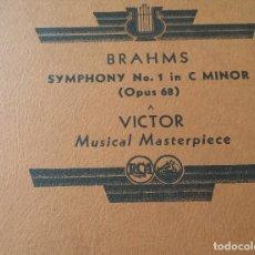 Discos de pizarra: ÁLBUM: SINFONÍA NO. 1 – BRAHMS, LEOPOLD STOKOWSKI – 5 DISCOS RCA VICTOR. Lote 124483699