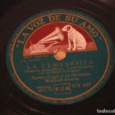 Discos de pizarra: XAVIER CUGAT Y LA ORQUESTA WALDORF ASTORIA - LA CUMPARSITA / AUTO CONGA - LA VOZ DE SU AMO GY 697. Lote 124680875