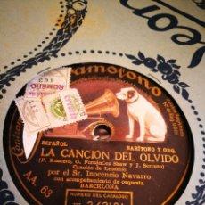 Discos de pizarra: LA CANCION DEL OLVIDO. INOCENCIA NAVARRO.. Lote 124894716