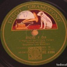 Disques en gomme-laque: ORQUESTA LEO REISMAN - NOCHE Y DIA (NIGHT AND DAY) / TIEMPO BORRASCOSO (STORMY WEATHER) - AE 4304. Lote 124936191
