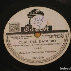 Discos de pizarra: ORQUESTA LOS BOHEMIOS VIENESES - OLAS DEL DANUBIO / SALUDO A VIENA - ODEON 183.979. Lote 125094055