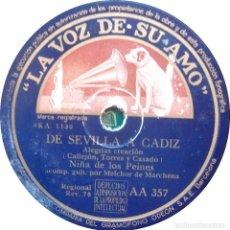 Discos de pizarra: NIÑA DE LOS PEINES / MELCHOR DE MARCHENA - DE SEVILLA A CADIZ / FIESTAS DE NAVIDAD. Lote 125290835