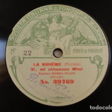 Discos de pizarra: REGINA PACINI - LA BOHÈME (PUCCINI) / POVERA MAMMA (TOSTI) - FONOTIPIA - 39769, 39770. Lote 125824695