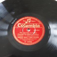 Discos de pizarra: DISCO DE PIZARRA TOMAS GREGORIO Y CONCHITA PUEYO. Lote 126350463