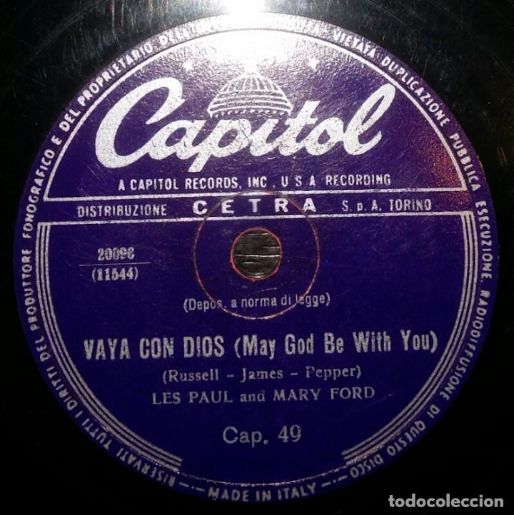 DISCOS 78 RPM - LES PAUL - MARY FORD - JAZZ - GUITAR - VAYA CON DIOS - JOHNNY - PIZARRA (Música - Discos - Pizarra - Jazz, Blues, R&B, Soul y Gospel)