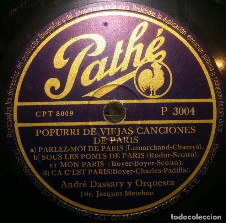 DISCOS 78 RPM - ANDRÉ DASSARY - ORQUESTA - POPURRI VIEJAS CANCIONES DE PARÍS - PIZARRA (Música - Discos - Pizarra - Solistas Melódicos y Bailables)