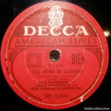 Discos de pizarra: DISCOS 78 RPM - ELLA FITZGERALD - LOUIS ARMSTRONG - ORQUESTA - BOB HAGGART´S - PIZARRA. Lote 126388727