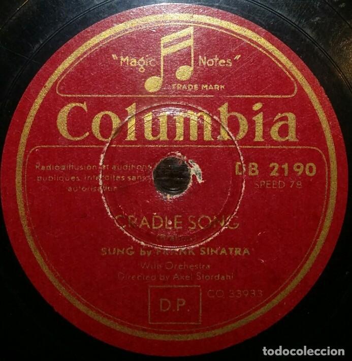 DISCOS 78 RPM - FRANK SINATRA - CRADLE SONG - THERE´S NO YOU - PIZARRA (Música - Discos - Pizarra - Solistas Melódicos y Bailables)