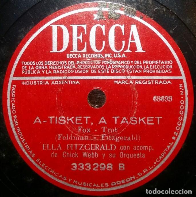 DISCOS 78 RPM - ELLA FITZGERALD - CHICK WEBB - ORQUESTA - A TISKET, A TASKET - PIZARRA (Música - Discos - Pizarra - Jazz, Blues, R&B, Soul y Gospel)