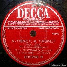 Discos de pizarra: DISCOS 78 RPM - ELLA FITZGERALD - CHICK WEBB - ORQUESTA - A TISKET, A TASKET - PIZARRA. Lote 126389747