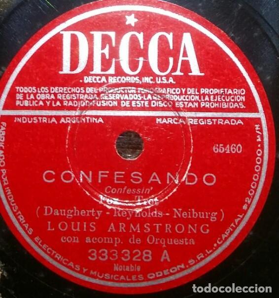 Discos de pizarra: DISCOS 78 RPM - LOUIS ARMSTRONG - VELMA MIDDLETON - ORQUESTA - MANTECA Y HUEVOS - PIZARRA - Foto 2 - 126390567